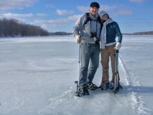 Dick out Snowshoeing with a good friend, Sabrina.  Everything is more fun with someone.